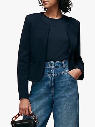Whistles Collarless Jersey Jacket, Navy