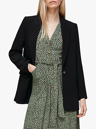 Whistles Crepe Single Buttoned Blazer, Black