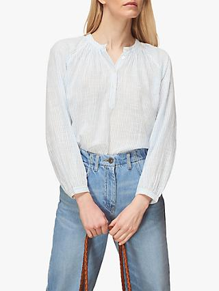 Whistles Cotton Stripe Voile Blouse, Blue
