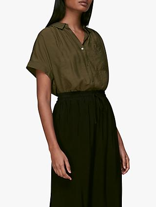 Whistles Nicola Button Through Shirt, Khaki