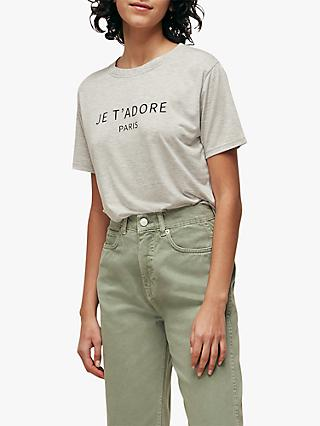 Whistles Je T'Adore T-Shirt, Grey