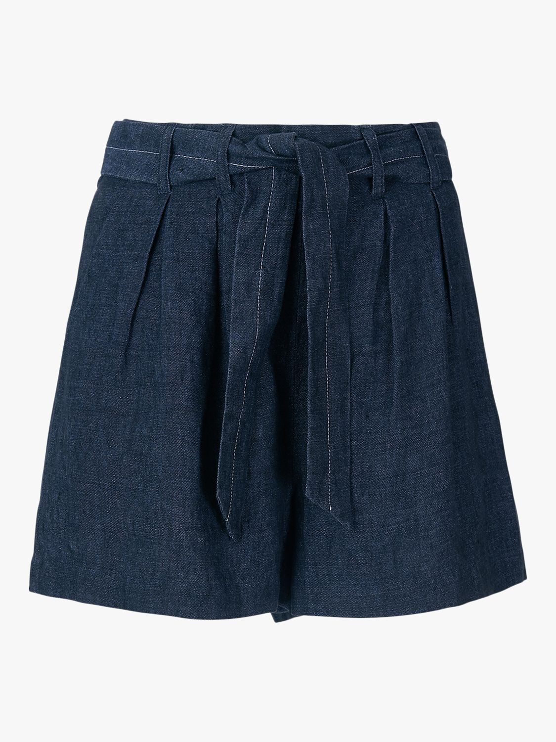 Whistles Indigo Linen Shorts, Navy