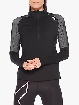 2XU GHST 1/2 Zip Long Sleeve Training Top, Black/White