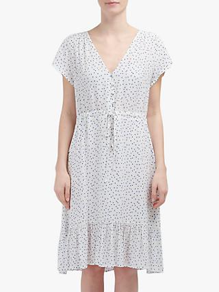 Rails Kiki Geometric Print Ruffle Hem Dress, White