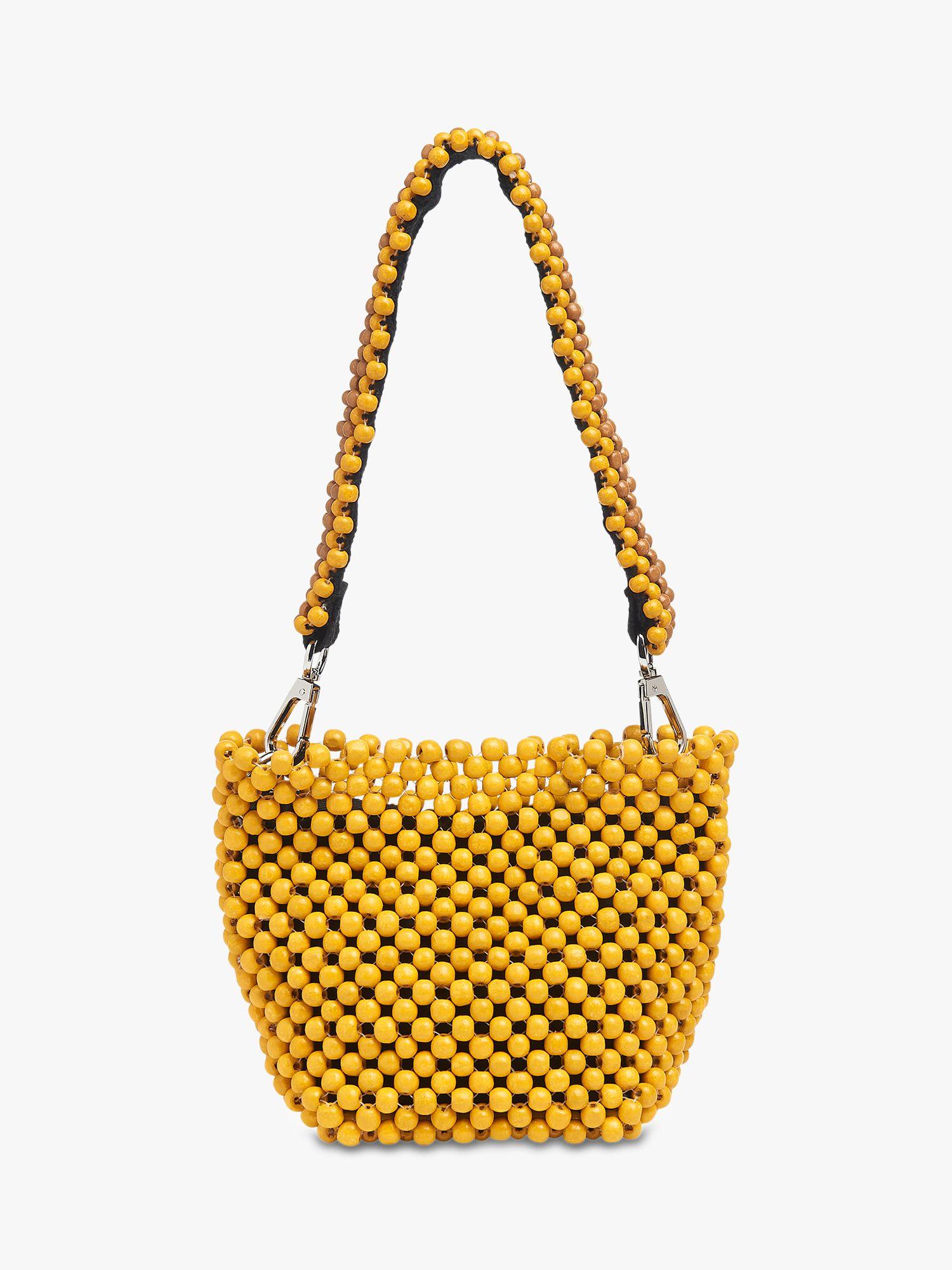 Whistles Martha Mini Beaded Bucket Bag Yellow At John Lewis Partners