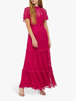 Monsoon Billie Embroidered Maxi Dress, Pink