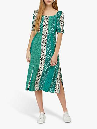 Monsoon Poppy Patch Midi Dress, Green