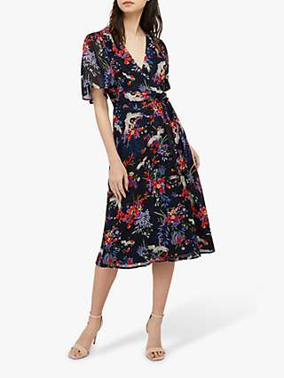 Monsoon Oaklyn Tea Floral Midi Dress, Navy