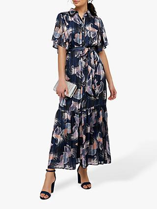 Monsoon Birdie Shirt Animal Print Maxi Dress, Navy