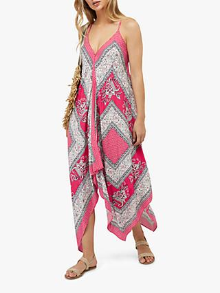 Monsoon Christa Scarf Abstract Maxi Dress, Pink