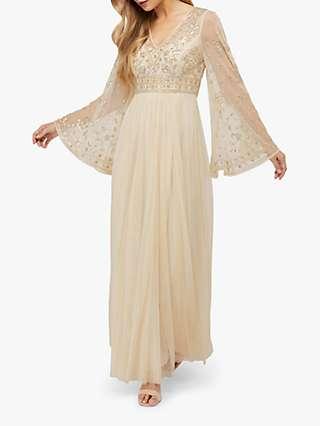 Monsoon Fleur Embellished Maxi Dress, Champagne