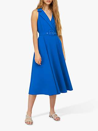 Monsoon Isla Structured Midi Dress, Blue