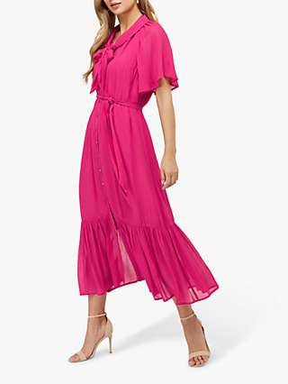 Monsoon Paige Shirt Midi Dress, Pink