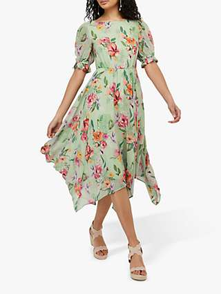 Monsoon Hermione Tea Floral Midi Dress, Green