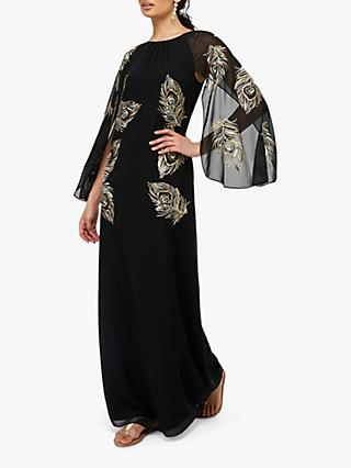 Monsoon Cara Peacock Embroidered Maxi Dress, Black