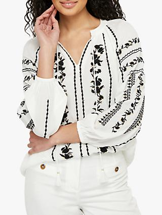 Monsoon Sienna Embroidered Shirt, Ivory