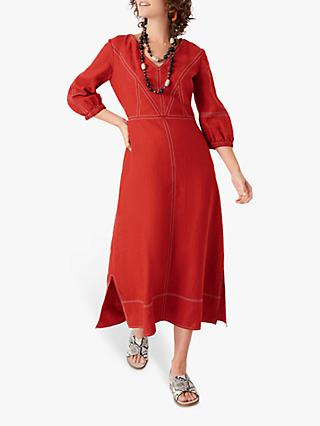 Brora Linen Dress, Burnt Orange