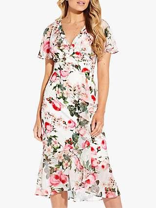 Adrianna Papell Rose Magnolia Ruffle Dress, Pink/Multi