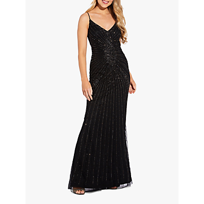 Product photo of Adrianna papell sequin embellished spaghetti strap gown black