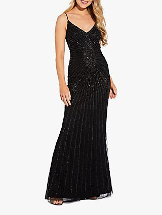 Adrianna Papell Sequin Embellished Spaghetti Strap Gown, Black