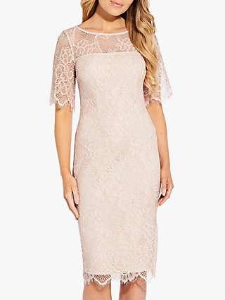 Adrianna Papell Maria Lace Sheath Dress, Ivory/Nude