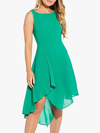 Adrianna Papell Gauzy Crepe Origami Midi Dress, Harbor Teal