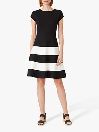 Hobbs Lizzie Stripe Flared Dress, Black/Ivory