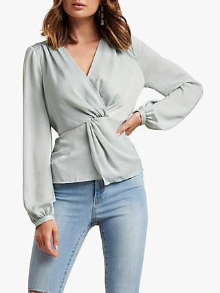 Forever New Serina Twist Blouse, Pale Sage