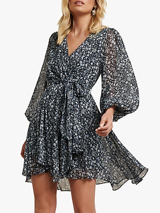 Forever New Mariana Ditsy Print Flared Mini Dress, Navy/White