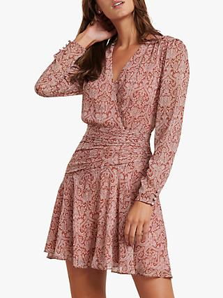 Forever New Harmony Paisley Wrap Mini Dress, Rusted Damask