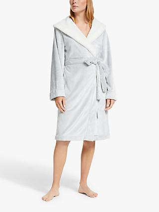 John Lewis & Partners Frosted Borg Trim Robe, Grey/Cream