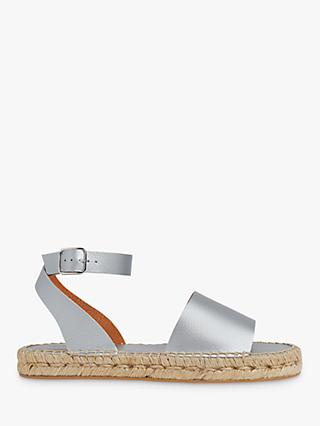 Whistles Lula Leather Espadrille Sandals, Silver