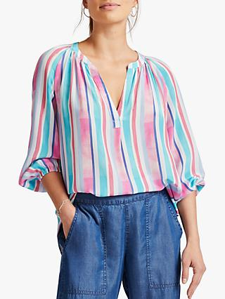 NRBY Olivia Silk Stripe Shirt, Multi