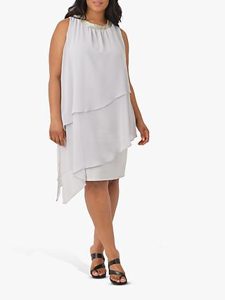 Live Unlimited Curve Embellished Neck Tiered Dress, Light Grey