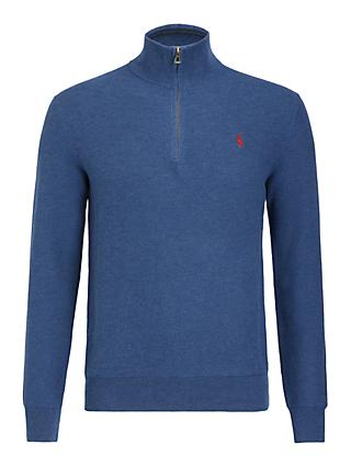 Polo Ralph Lauren Pima Cotton Half Zip Jumper, Rustic Navy Heather