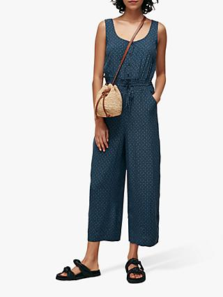 Whistles Lattice Print Quinn Jumpsuit, Blue