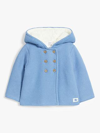 John Lewis & Partners Baby Organic Cotton Classic Knit Borg Hoodie Jacket