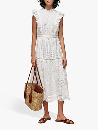 Whistles Broderie Midi Dress, White