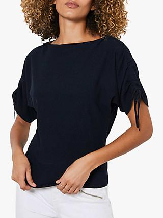 Mint Velvet Ruched Sleeve Top, Navy