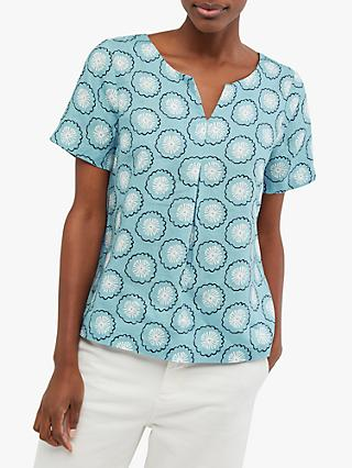 White Stuff Abstract Print V-Neck Linen Top, Pottery Blue