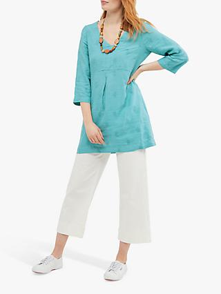 White Stuff Bailey Embroidered Linen Tunic Top, Pottery Blue