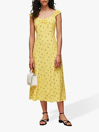 Whistles Forget Me Not Floral Print Midi Dress, Yellow/Multi