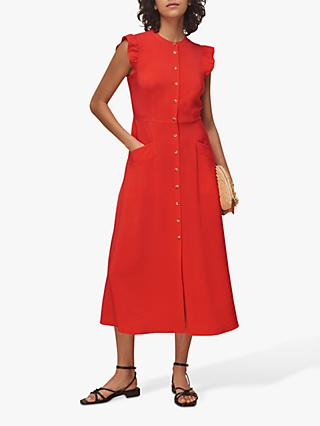 Whistles Frill Midi Dress, Red