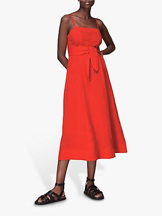 Whistles Linen Tie Belt Midi Dress, Red