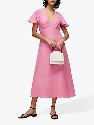 Whistles Frill Sleeve Midi Dress, Pink