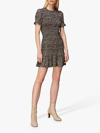 Whistles Yasmin Shirred Abstract Mini Dress, Multi