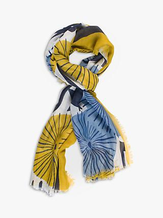 Chesca Floral Print Scarf, Navy/Mustard