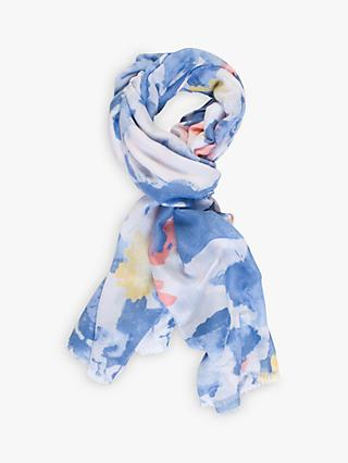 Chesca Watercolour Print Scarf, Blue/Pink