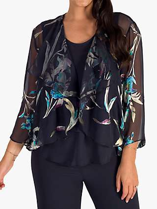 Chesca Floral Print Shrug Jacket, Pewter/Turquoise