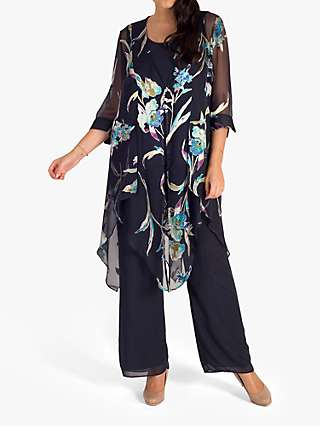 Chesca Floral Print Pixie Hem Coat, Pewter/Turquoise